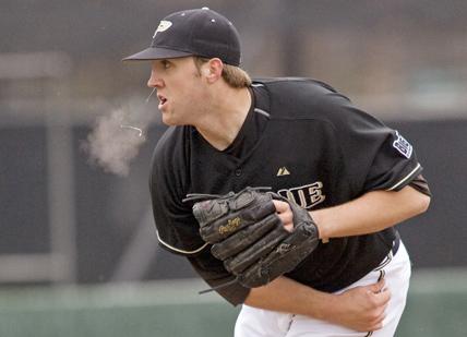 Purdue RHP Josh Lindblom, photo via Baseball America\'s front page earlier this week