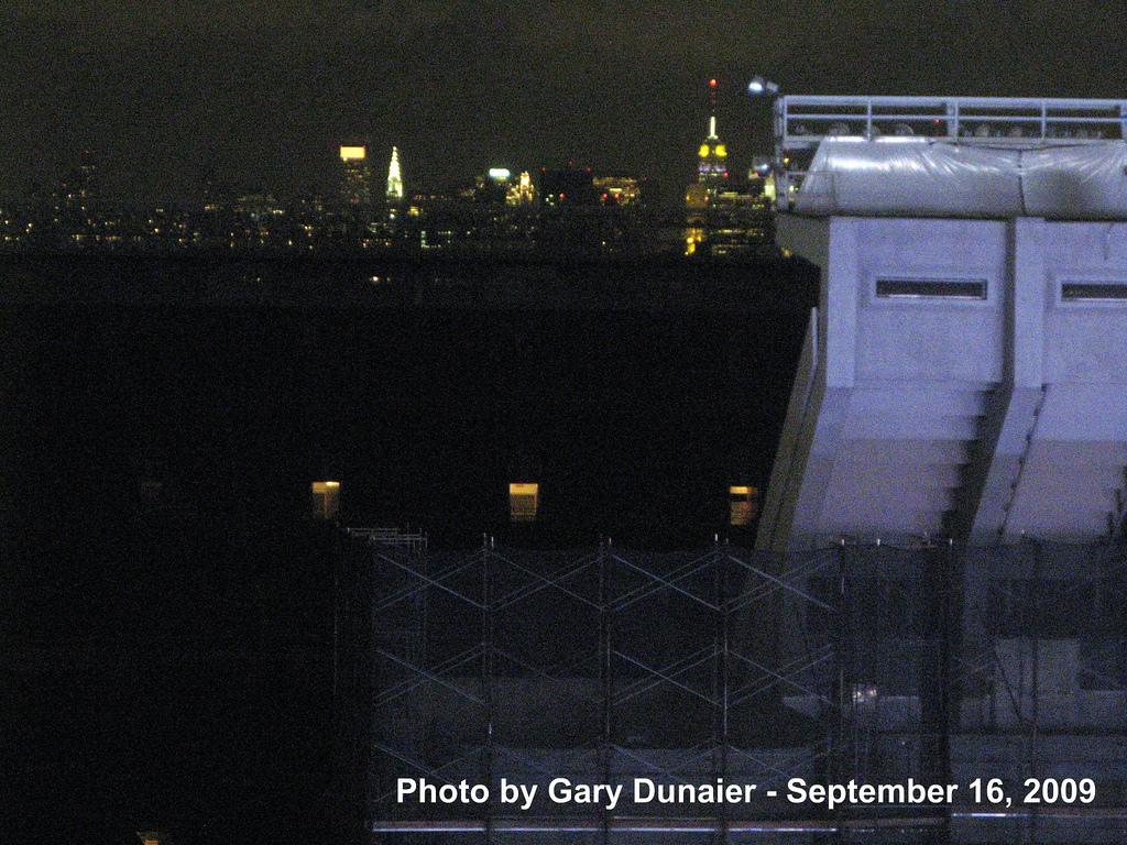 Old Stadium with NYC skyline