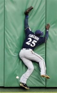 Mike Cameron crashing into the wall