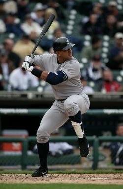 A-rod swinging a bat