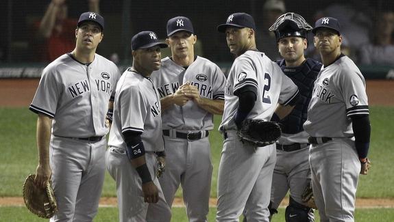 Mark Teixeira, Robinson Cano,  Joe Girardi, Derek Jeter, Francisco Cervelli,  Alex Rodriguez