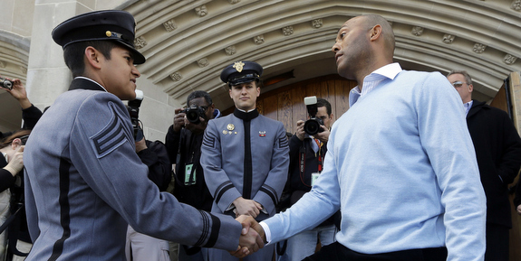 The Yankees toured the academy and ate lunch with the cadets today. (AP Photo/Mike Groll)