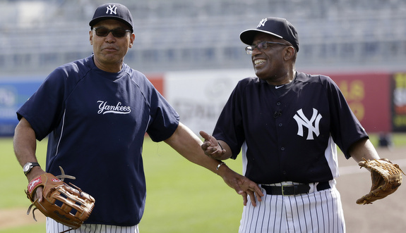 Al Roker was in camp today. No the Yankee didn't sign him. (AP Photo/Kathy Willens)