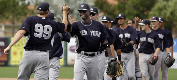 You know these games mean something when #99 is shaking hands after the final out. (AP Photo/Elise Amendola)