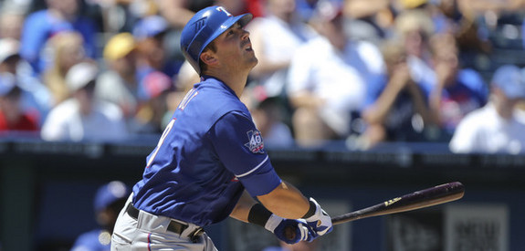 Former Ranger Mike Olt. (Ed Zurga/Getty)