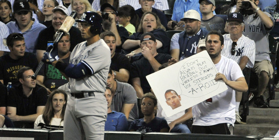 The A-Rod signs have been very disappointing so far. Step it up, hecklers. (Presswire)