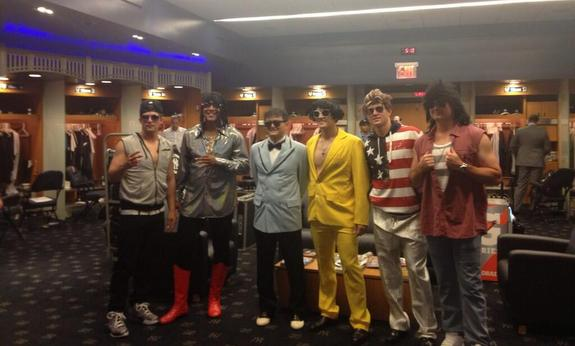 Rookie hazing! Cesar Cabral is Rick James ... and that's all I know. (Photo via @YankeesPR)