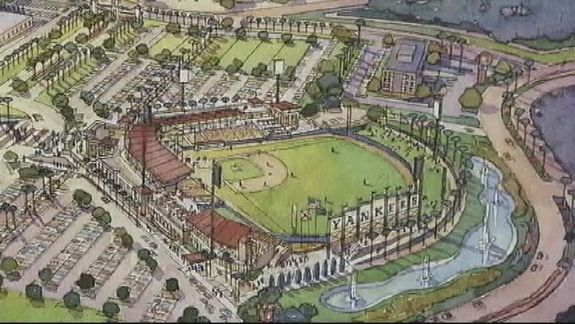 Rendering of the proposed ballpark in Ocala. (via WFTV)