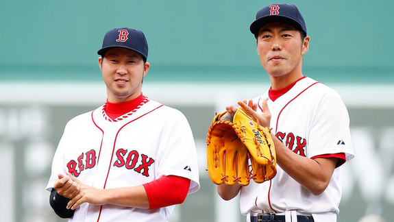 Tazawa and Uehara. (Jared Wickerham/Getty)