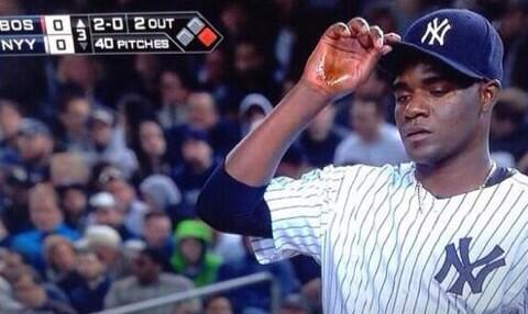 What's that on your hand, Big Mike? (via @RedSoxStats)