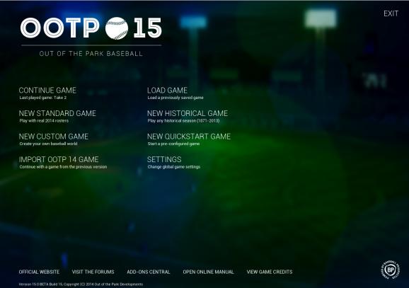 OOTP 15 start screen
