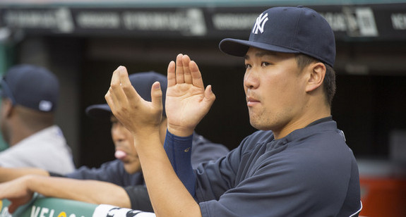 Tanaka preemptively applauding his own performance. (Jason Miller/Getty)