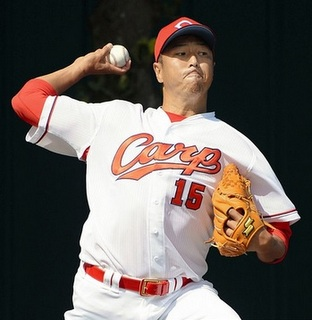 Kuroda's back with the Carp. (Getty)