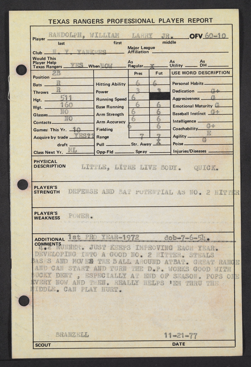 Willie Randolph scouting report