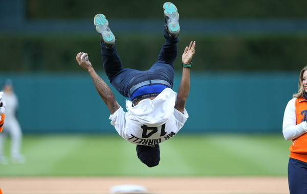 Some guy did a back flip before the first pitch last night. (Leon Halip/Getty)