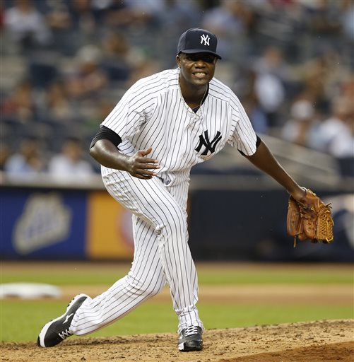 Pineda's new dance move. (AP Photo/Kathy Willens)