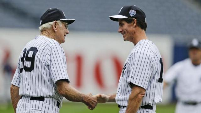 Coates and Paul O'Neill at Old Timers' Day last year. (AP Photo/Frank Franklin II)
