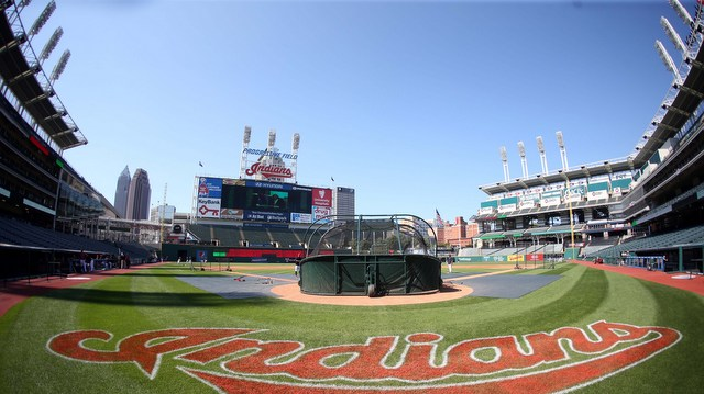 Aug 13, 2015; Cleveland, OH, USA; General view as the Cleveland Indians take batting practice before playing the New York Yankees at Progressive Field. Mandatory Credit: Charles LeClaire-USA TODAY Sports