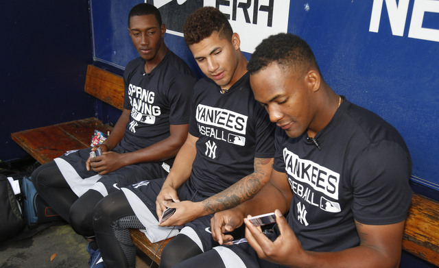 From left to right: Jorge Mateo, Gleyber Torres, Miguel Andujar. (Presswire)