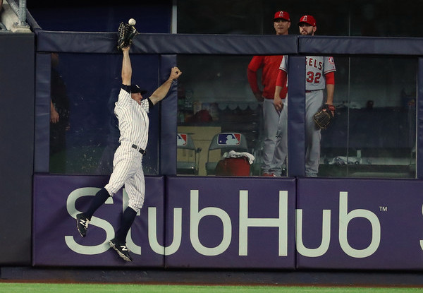 Standard outfield positioning when Clippard is on the mound. (Al Bello/Getty)