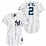 Derek Jeter Women's Replica Jersey, Home Pinstripes, Retirement Patch