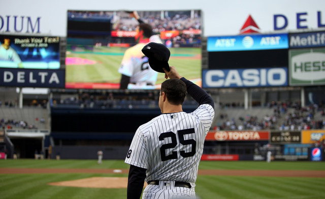 Oct 2, 2016; Bronx, NY, USA; New York Yankees first baseman Mark Teixeira (25) waves to the crowd during a retirement ceremony before a game against the Baltimore Orioles at Yankee Stadium. Mandatory Credit: Danny Wild-USA TODAY Sports